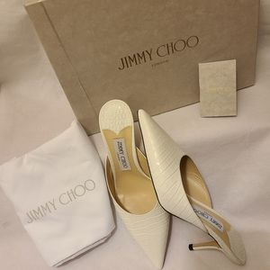 Jimmy Choo Rav Pointy toe Croc leather mules Sz 8